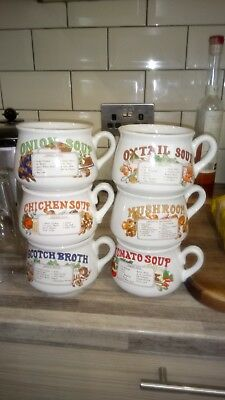 Vintage Retro Soup Mugs Bowls Cups With Recipes Set Of 6 16 00