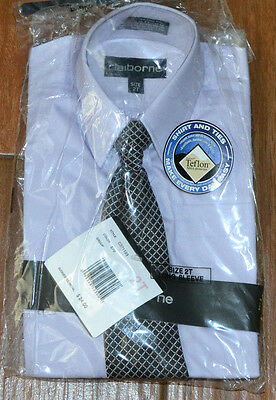 NWT Toddlers Boys 2T Long-Sleeve Shirt Pale Purple & Tie Set Claiborne Holidays