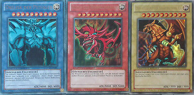 Yu-Gi-Oh! Götterkarten-Set, Slifer + Obelisk + Ra, LC01, Deutsch, Ultra Rare, NM