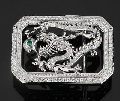 925 Sterling Silver dragon men's buckle buckles handmade (without belt) S2360