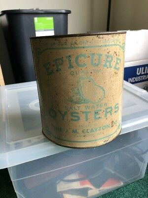 Rare Antique Vintage Epicure Brand Gallon Oyster Tin Can