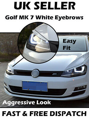 Volkswagen VW Golf 7 GTI GTD R MK7 2013-2017 Headlight Eyebrow Eyelid White Trim