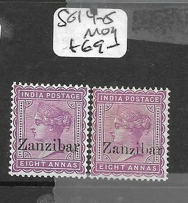 Zanzibar  (Pp1009B) Qv On India 8A  Sg 14-15  Mog