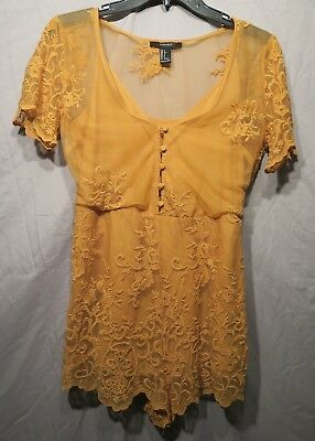 Forever 21 Mustard Lace Short Sleeve Romper - Size Small