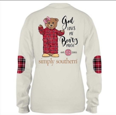 Adult Simply Southern God Loves Me Beary Much Bear Long Sleeve Shirt