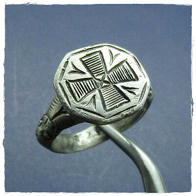 ** CROSS & TWO SNAKES ** ancient  SILVER ROMAN- BYZANTINE ring !!!