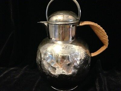 Antique Silver Plate Apollo  Bernard Rice's Sons Inc #5818 Rattan Handle Pitcher