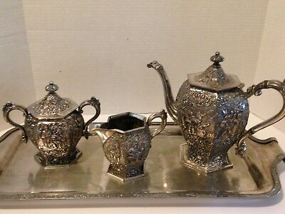 Barbour Bros Co. Silver Plate Victorian Repousse Coffee/Tea Service Set-STUNNING