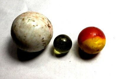 3 vintage marbles German ? Akro ? Prltier ? China? 70+ years in Family free ship