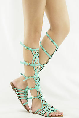 5d23ae0bb0430 Breckelle s SOLO-16 Strappy Knee High Gladiator Flat Sandal • Seafoam Green  7.5