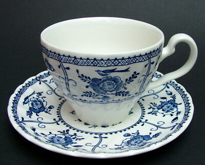 Johnson Brothers Indies Blue Pattern 200ml Tea Cups & Saucers - Look in VGC
