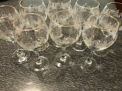Eight Arby's Winter White with Gold Rim Wine or Water Goblets