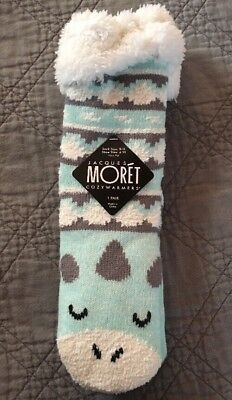Jacques Moret Cozywarmers Slippers Women's 9-11 Socks 4-10 Shoe Size Blue Animal