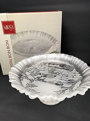 """Mikasa CRYSTAL HOLIDAY CLASSICS FOOTED BON BON DISH TRAY 9"""" FROSTED ETCHED"""