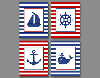 4 prints, nautical art for boy, girl- boat, whale, anchor, ship wheel, red, navy