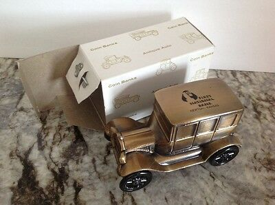 MODEL T FORD COIN BANK Banthrico, brass 1st National, Newton, KS. $20 ships free