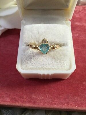 Vintage jewellery Gold Claddagh Love Ring Aquamarine Heart Antique Jewelry