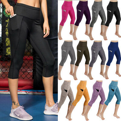 611e7e126802e Womens High Waist Pocket Yoga Pants Capri Sports Running Athletic Gym  Leggings G