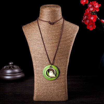 Green/Brown Bird Charm Pendant Long Necklace Women Girls Jewelry Gift B