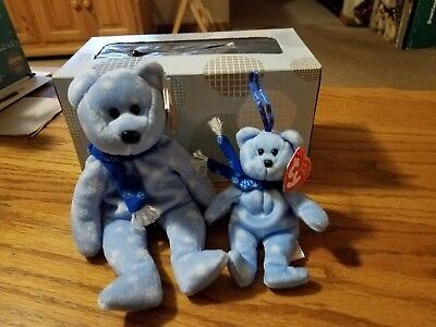 Beanie Babie 1999 Holiday  Teddy Bear Large And Small Set