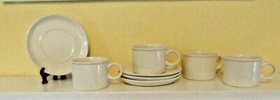 Midwinter Wedgwood Stoneware England Set of 4 Drum shaped Cups and Saucers