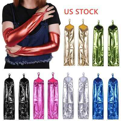 Sexy Women Long Shiny Leather Gloves Club Party Costume Mittens Opera Dance Wear