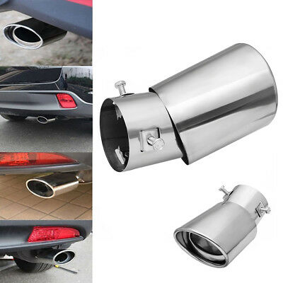 Universal 63mm Round Exhaust Tail Muffler Tip Pipe Silver Chrome Stainless Steel