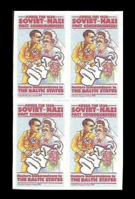 Baltics opposition to 1939 Hitler-Stalin Pact, cinderella, block of 4 ... MNH **