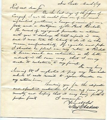 1859 Letter From Rochester Ny 1846 Mayor Congressman Samuel G Andrews Signed