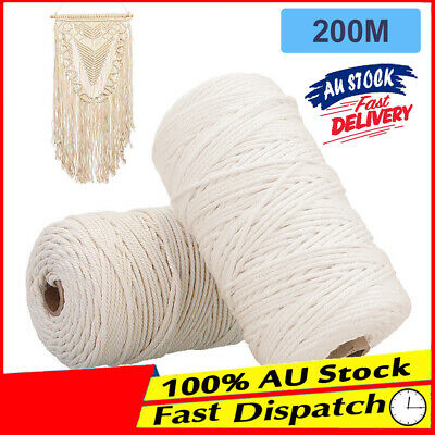 200m Twisted Cord Beige Craft Macrame Artisan Thread Natural Cotton String