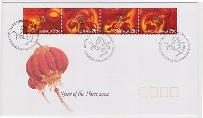 (K90-92) 2002 Christmas Island FDC $1.00 year of the Horse (CQ)
