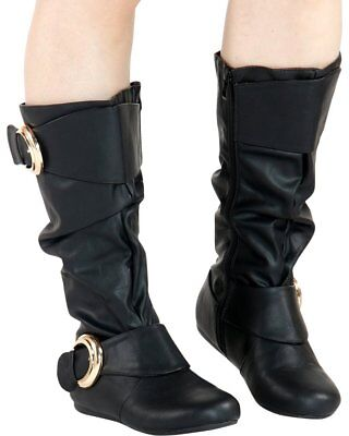 New Slouchy Over-Size Buckle Strap Flat Boot Mid Calf Knee High Faux Leather Zip