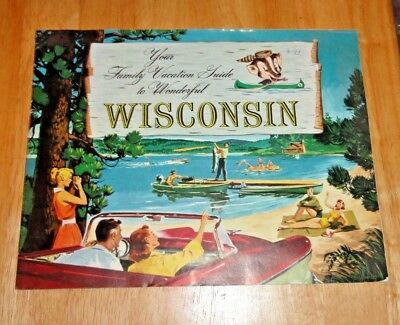 Vintage Wisconsin Family Vacation Guide Brochure Book