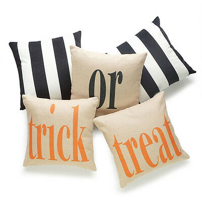 Halloween Gift Square Cotton Linen Throw Pillow Case Cushion Cover Home Sofa DS