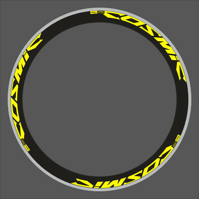 MAVIC COSMIC PRO CARBON DECAL SET FOR TWO WHEEL in NEON YELLOW