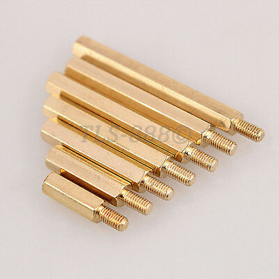 M3 x (3mm - 17mm) Solid Brass Male Female Spacer Stud Hex Standoff Screws Nuts