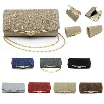 Women Wedding Evening Bridal Clutch Purse Metallic Party Handbag Crossbody Bag