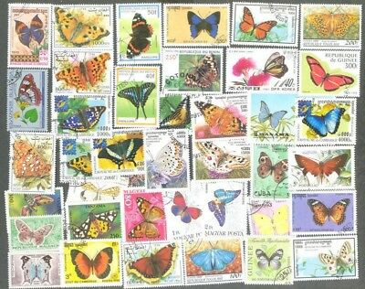 Butterflies & Moths 200 all different stamp collection
