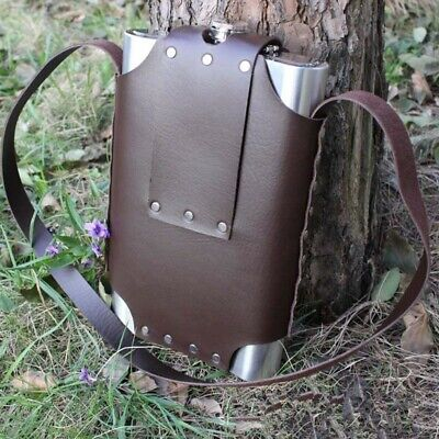 New 64 Oz Stainless Steel Hip Flask 64 Oz Of Military Small  Leather Case
