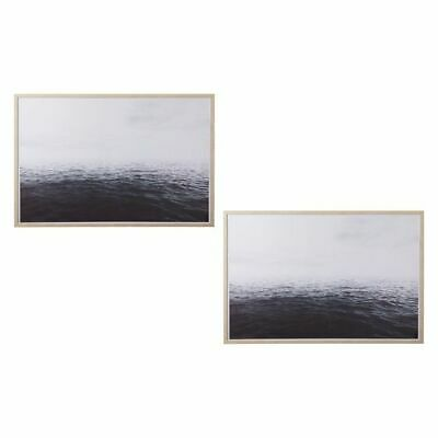 NEW Amalfi Deep Sea Framed Canvas Print (Set of 2)