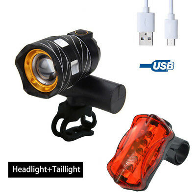 IP65 USB Bike Lights Rechargeable XML T6 LED Front Headlight Rear Bicycle Light
