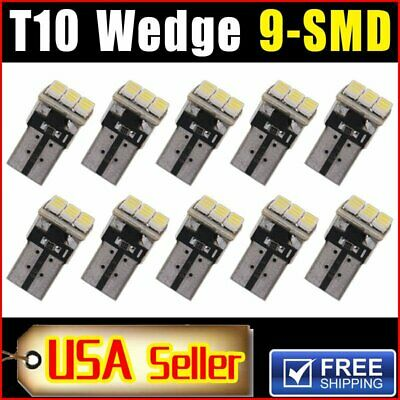10XCar White T10 LED 9smd Side Wedge Light Bulb W5W 194 168 2825 501 192 158 SA