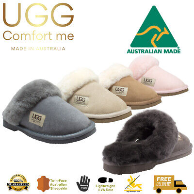 UGG Scuffs Fur Trim - AUSTRALIAN MADE, Merino Sheepskin, Memory Foam