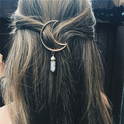 Women Vintage Alloy Moon Hair Clip Natural Stone Pendant Charms Clamp HairpinWFI