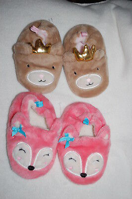 Baby Girls 2 PAIR LOT SLIPPERS Cute Animals PINK FOX w/ BOWS Brown Bear SIZE 6