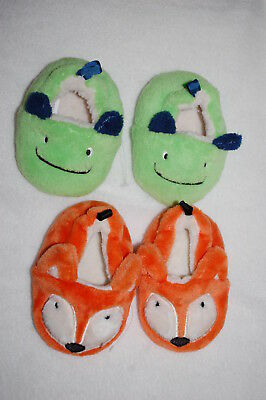 Baby Boys 2 PAIR SLIPPERS LOT Cute Animals ORANGE FOX Green Monster 2 3 4 5 6