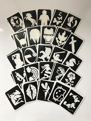 Glitter Temporary Tattoo 50 Large Stencil Refill Kit Boys/girls Pack B