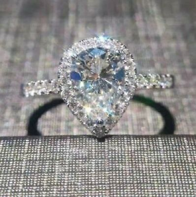 2.1ct Off White Moissanite Pear Cut Wedding Engagement Ring Real 14k White Gold