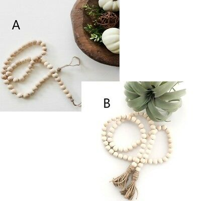 1x Nordic Wood Beads String Wall Decor Design Kids Room Tent Bed Decor Gift US