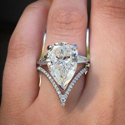 2.15ct Off White Moissanite Pear Cut Wedding Engagement Ring Real 14k White Gold